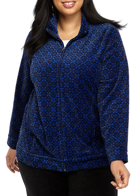 Kim Rogers® Plus Size Velour Lace Tile Print