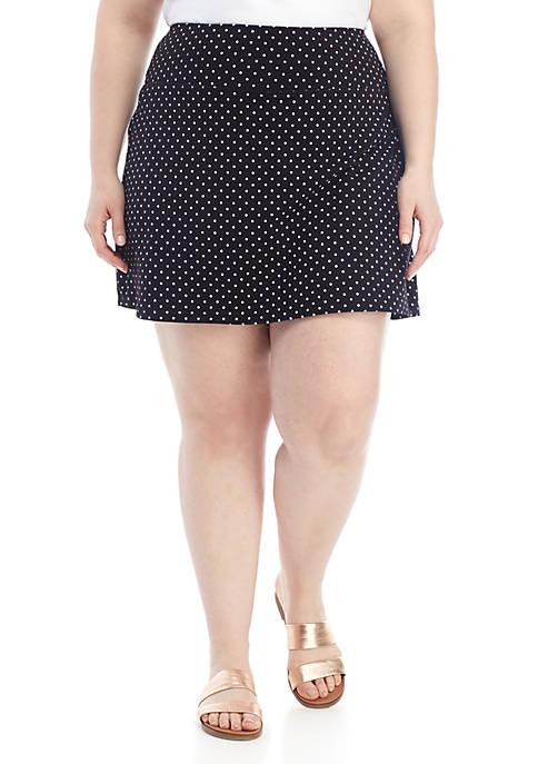 Plus Size Tummy Control Polka Dot Skort