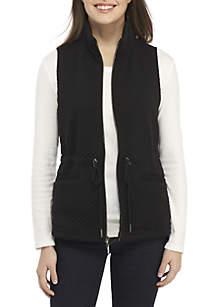 Petite Diamond Knit Jacquard Anorak Vest