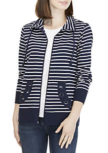 Petite Stripe Grommet Jacket