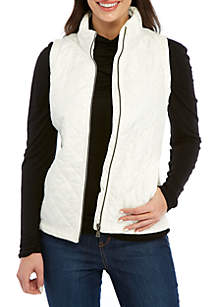 Kim Rogers® Petite Ribbed Side Puffer Vest