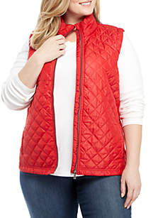 Petite Ribbed Side Puffer Vest