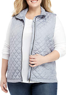 Plus Size Ribbed Side Puffer Vest