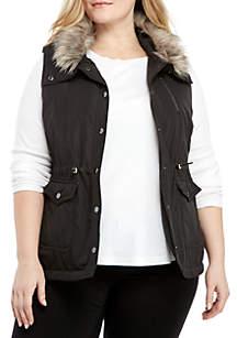 Plus Size Fur Collar Anorak Vest