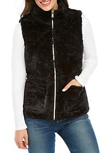 Petite Chevron Sculpture Faux Fur Vest