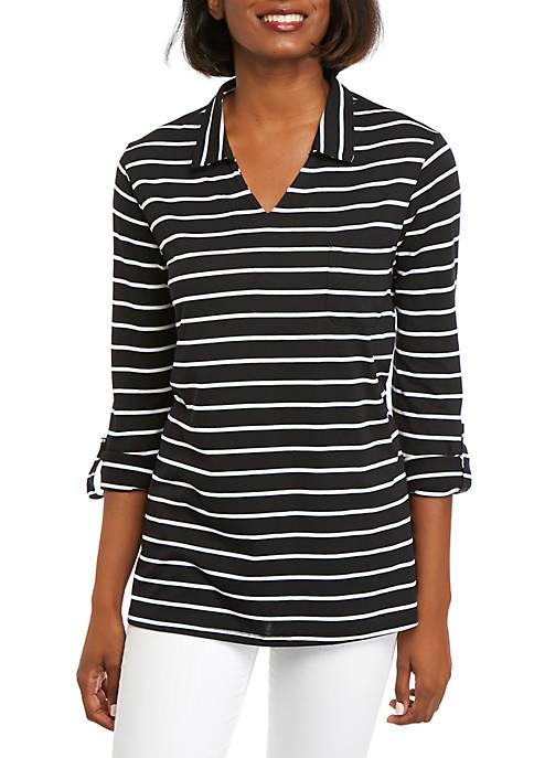 Kim Rogers® Roll Sleeve Point Collar Tunic