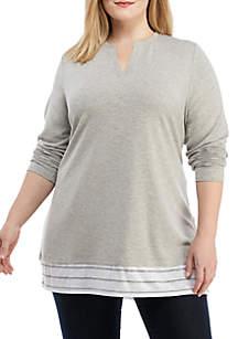Plus Size Asymmetric Hem Tunic