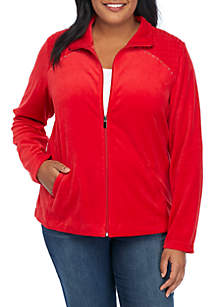 Plus Size Rouched Bodice with Bling Velour Jacket