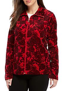 Petite Printed Velour Jacket