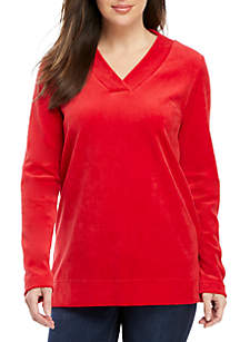 Velour V-Neck Tunic Top