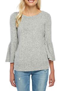 Flare Sleeve Brushed Hacci Sweatshirt