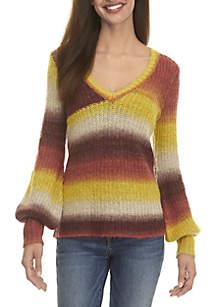 Ombre Stripe V-Neck Sweater