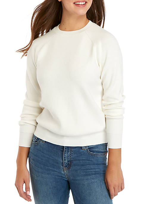 Kensie Crew Neck Ribbed Sweater