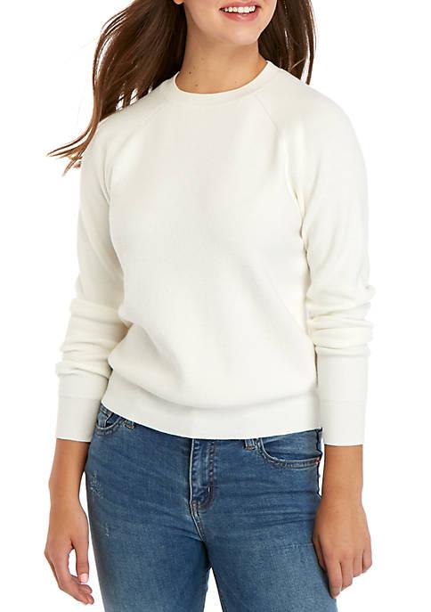 Kensie Crew Neck Ribbed Sweater