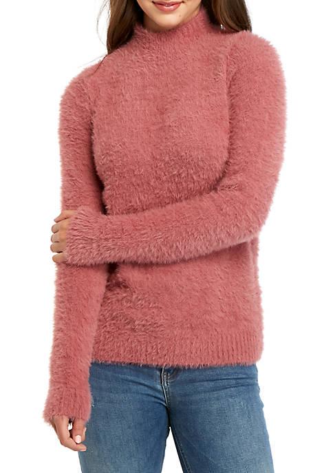 Kensie Fuzzy Mock Neck Sweater