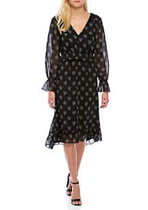 Printed Ruffle Waist High Low Dress