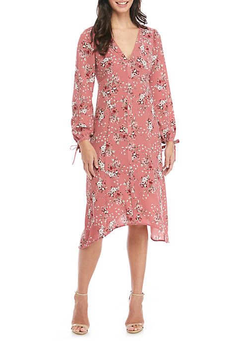 Kensie Long Sleeve Printed Front Pocket Dress