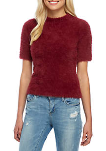 Short Sleeve Mock Neck Eyelash Sweater
