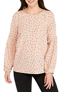 Long Cinched Sleeve Print Top