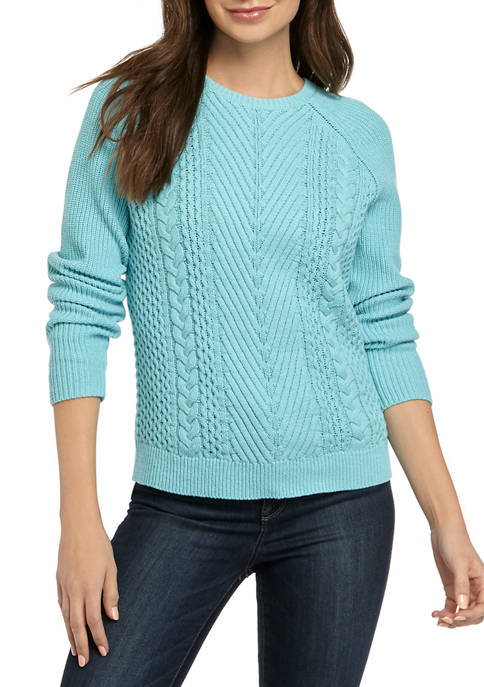Womens Long Sleeve Cable Knit Sweater
