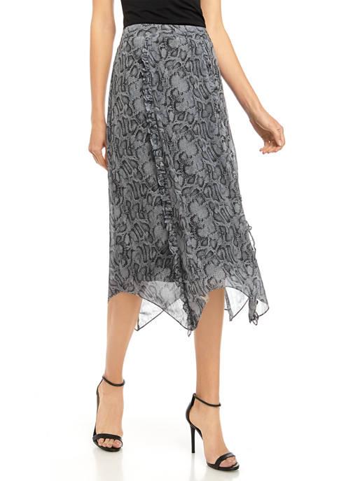 Kensie Womens Snakeskin Midi Skirt