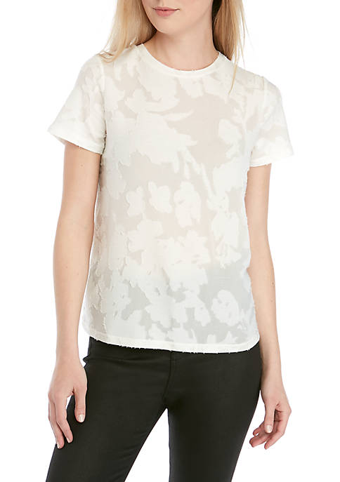 Kensie Short Sleeve Sheer Jacquard Tee
