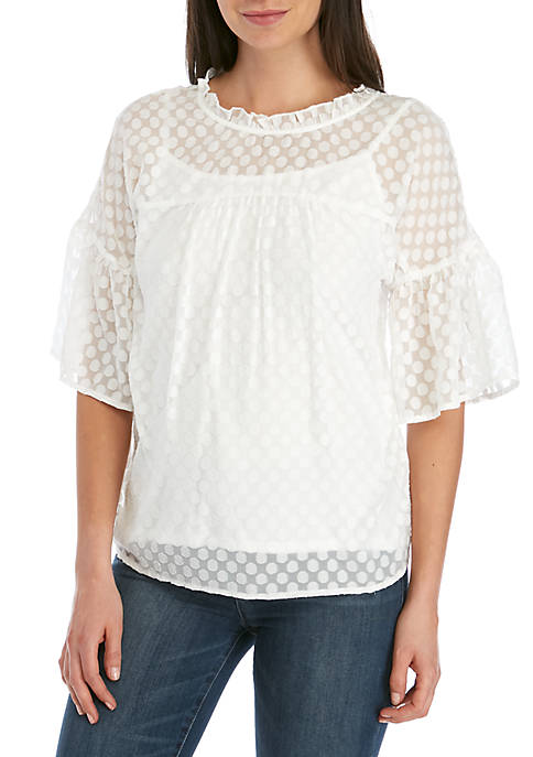 Elbow Sleeve Burn Out Dot Top