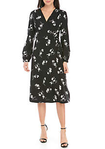 Kensie Long Sleeve Floral Print Wrap Dress