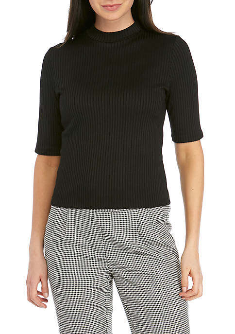 Elbow Sleeve Ribbed Mock Neck Top