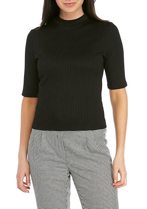 Kensie Elbow Sleeve Ribbed Mock Neck Top