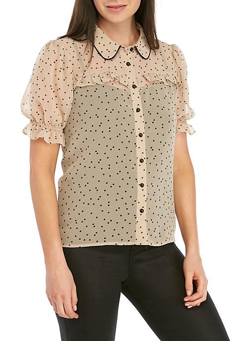 Kensie Short Sleeve Collared Dot Shirt