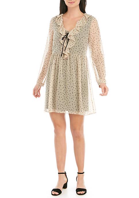 Kensie Long Sleeve Dot Print Dress