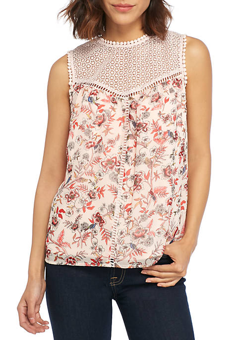 Kensie Lace Trim Print Top