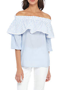 Off-The-Shoulder Stripe Ruffle Woven Top