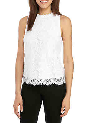 15cd662436556 Kensie Sleeveless Lace Shell Top ...