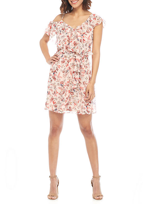 Kensie Ruffle 1 Shoulder Floral Dress
