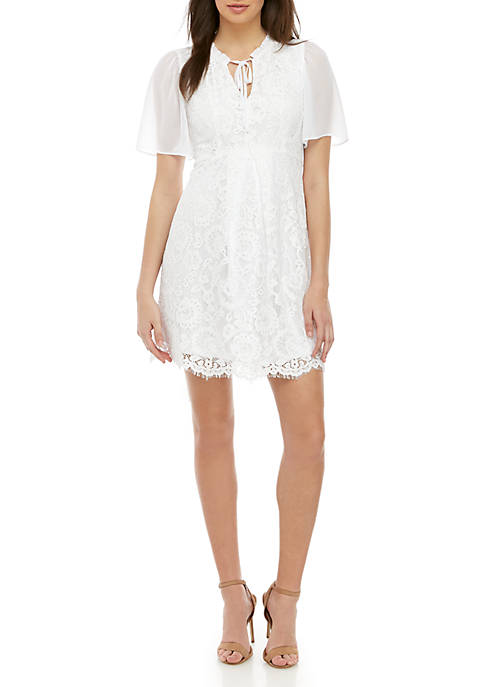 Short Sleeve Lace V Neck Dress