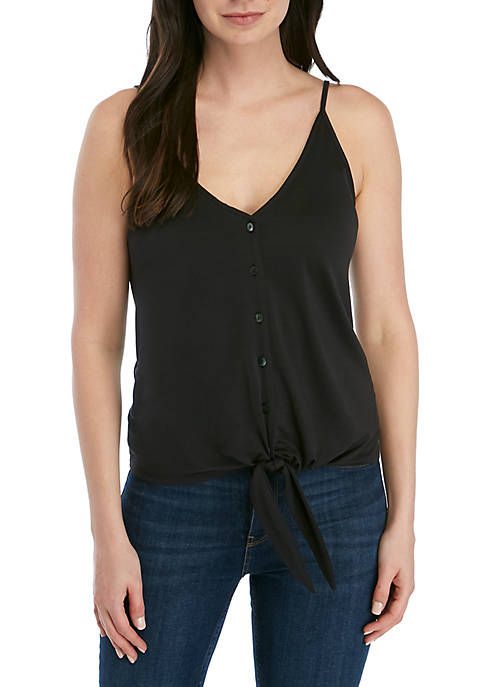 Kensie Tie Front Button Up Tank