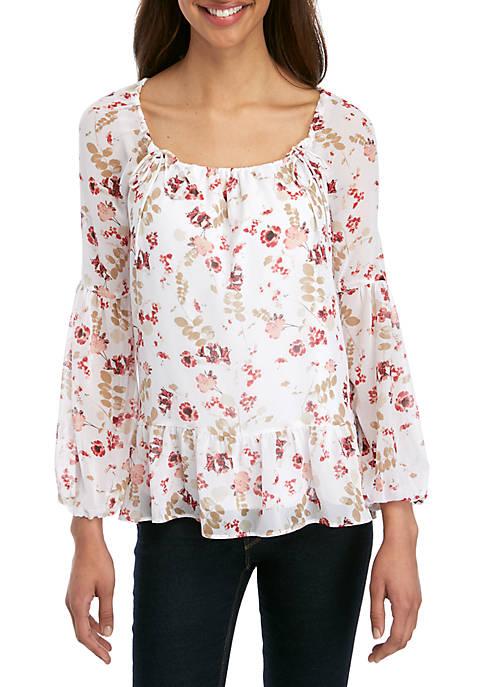 Kensie Long Sleeve Floral Woven Top
