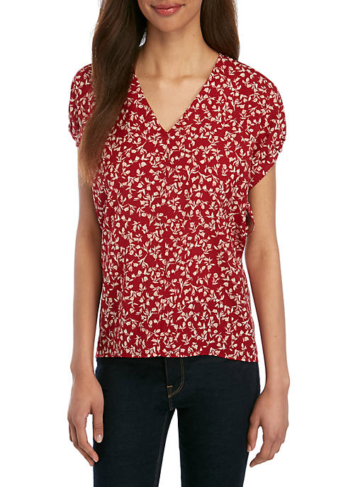 Short Sleeve Ditsy Print Woven Top
