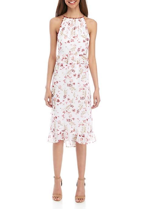 Red Floral Halter Dress