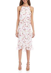 Kensie Red Floral Halter Dress
