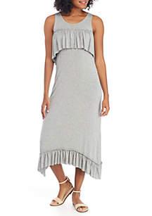Ruffle Trim Knit Maxi Dress