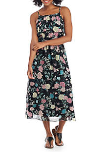 Tiered Ruffle Floral Maxi Dress