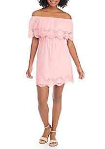 Off-the-Shoulder Eyelet Ruffle Dress
