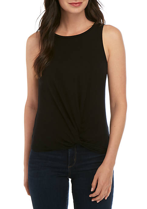 Kensie Sleeveless Knot Front Top