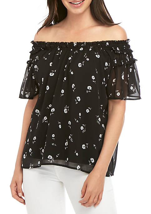 Ditsy Print Woven Top