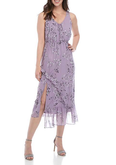 Kensie Asymmetrical Floral Midi Dress