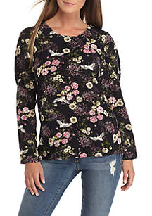 Floral Band Sleeve Blouse