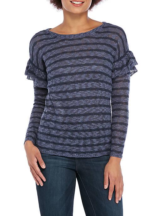 Kensie Ruffle Sleeve Stripe Sweater